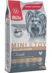 Blitz Dog Mini&Toy для собак мелких и миниатюрных пород с курицей, вес 7 кг.