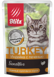 Blitz паучи для кошек индейка с печенью в соусе, 85 гр.