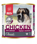 Blitz консервы для собак курица с овсянкой, 750 гр.