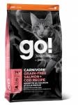 GO! Solutions для кошек и котят с лососем и треской, беззерновой, вес 3,63 кг.
