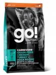 GO! Solutions для собак всех пород 4 мяса (индейка, курица, лосось, утка), беззерновой, вес 1,59 кг.