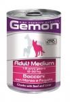 Gemon консервы Medium для собак средних пород кусочки говядины с печенью, 415г