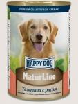 Happy Dog консервы для собак Nature Line с телятиной и рисом, 400г.