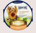 Happy Dog консервы для собак Nature Line паштет, телятина и рис, 85г.