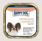 Happy Dog консервы для собак мелких пород паштет, телятина с индейкой, 100г.