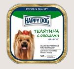 Happy Dog консервы для собак мелких пород паштет, телятина с овощами, 100г.
