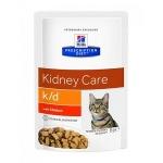 Hill's Diet пауч k/d для кошек лечение почек с курицей, 85 гр.