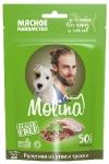Molina лакомства для щенков и собак рулетики из утки и трески, 50 гр.
