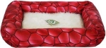 N1 Лежак с подушкой. Материал: кожзам/мех, цвет: красный, размеры 48*41*11 см.