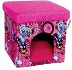 №1 Лежак-будка, твердый каркас, розовый с рисунком, размеры 38*38*38 см
