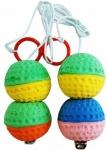 Игрушка 2 мяча на веревке с погремушкой, 4*8см Уют