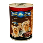 Верные друзья Говядина, кусочки в соусе для собак маленьких пород, вес 400 гр.