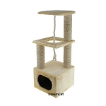 ! Когтеточка-комплекс с домиком,туннелем,лежанкой и игрушкой 35*35*105 см DreamCat KD-17