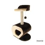 ! Когтеточка-домик со столбиком, лежанкой и игрушкой 40*30*75 см DreamCat KD-22