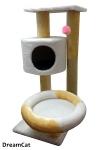 ! Когтеточка-комплекс с домиком, двумя лежанками и игрушкой 55*35*85 см DreamCat KD-36