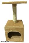 Когтеточка-домик со столбиком и лежанкой 30*30*65 см DreamCat KD-06