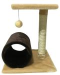 !  Когтеточка-столбик с лежанкой, туннелем и игрушкой 40*40*50 см DreamCat KD-05