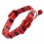 Ошейник для кошек красный с косточками, 10*210-330мм, Triol