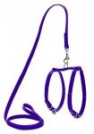 Шлея кожаная WAUDOG Glamour с поводком для кошек и мелких собак, 9мм*115см, фиолетовая.