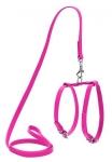 Шлея кожаная WAUDOG Glamour с поводком для кошек и мелких собак, 9мм*115см, розовая.